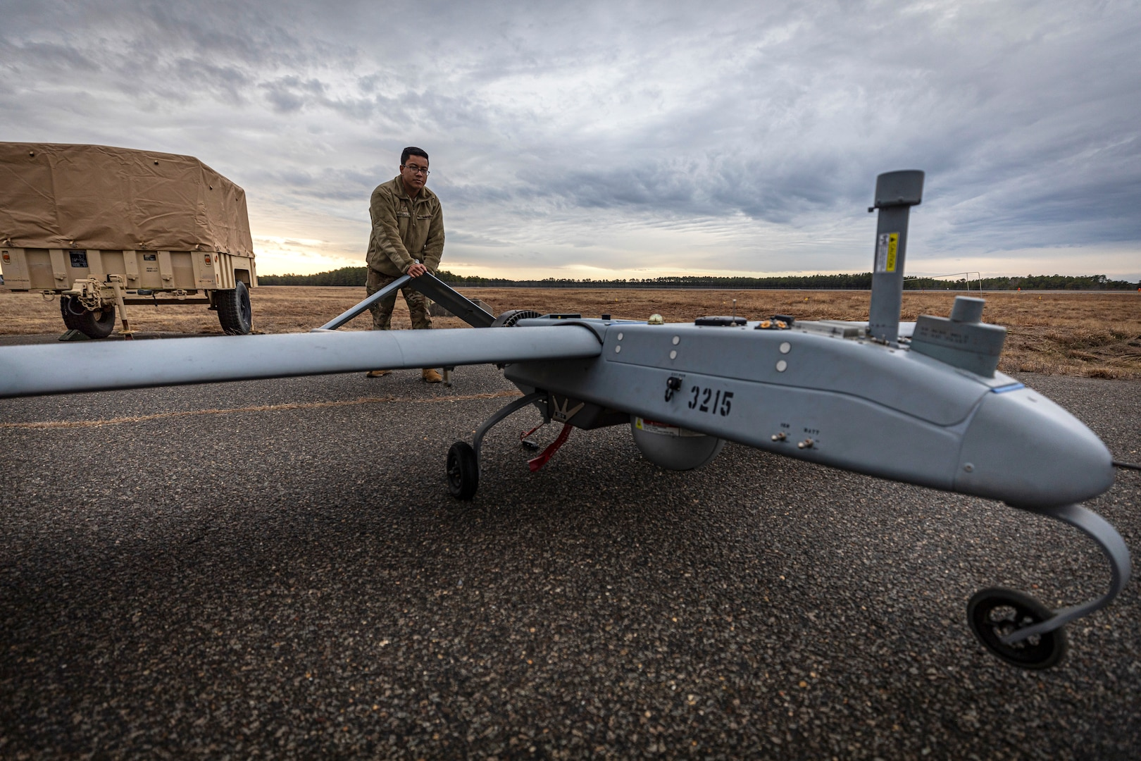 Soldier pushes RQ-7B Shadow unmanned aerial system on Joint Base McGuire-Dix-Lakehurst, New Jersey, February 2020 (U.S. Air National Guard/Matt Hecht)