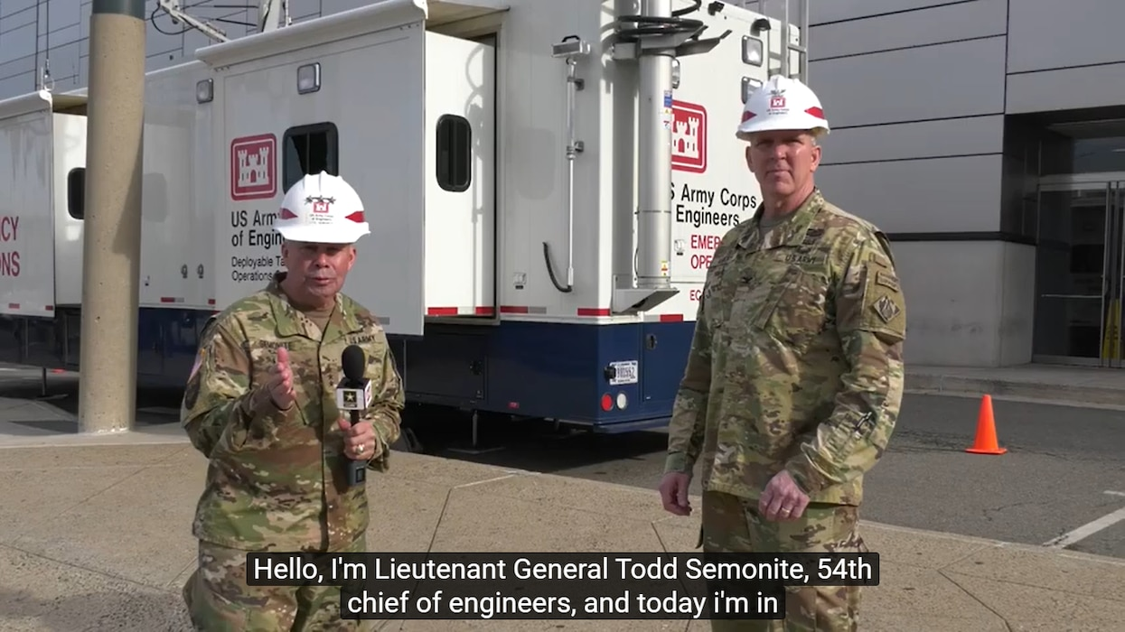 Lt. Gen. Todd Semonite, USACE Commanding General and 54th Chief of Engineers, speaks with New York District commander Col. Thomas Asbery on March 27, 2020, about Coronavirus response efforts at New York's Javits Convention Center in coordination with federal, state and local partners.