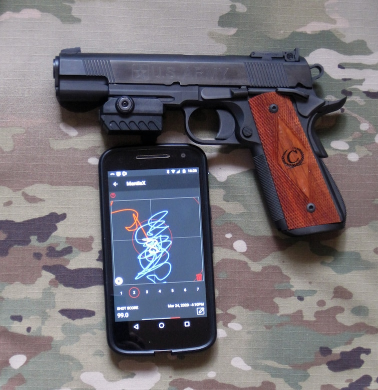 The MantisX is a simulator that can be used at home with any firearm. The accessory app provides a number of practice exercises and the Picatinny-mounted sensor detects movement and provides a measurable score.