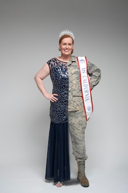 Master Sgt. Eileen Safford, 940th Maintenance Group training manager, Beale Air Force Base, California, is shown wearing her dress and crown on one side and her Air Force uniform on the other.