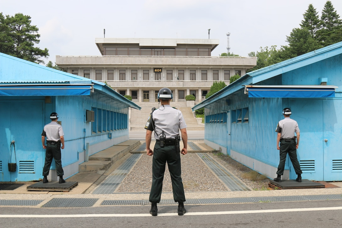 Republic of Korea army soldiers stand resolute at Joint Security Area where South and North Korean soldiers stand face-to-face across Korean