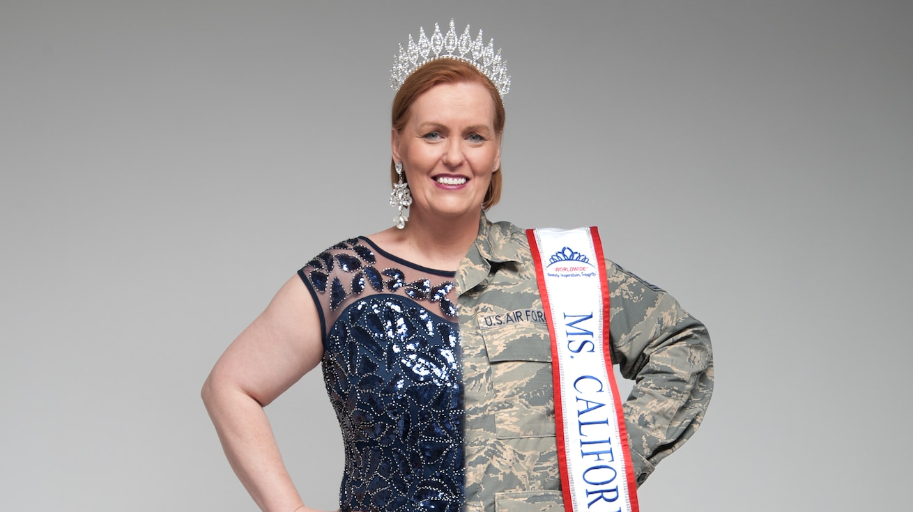 Master Sgt. Eileen Safford, 940th Maintenance Group training manager, Beale Air Force Base, California, is shown wearing a dress and crown on one side and her Air Force uniform on the other.