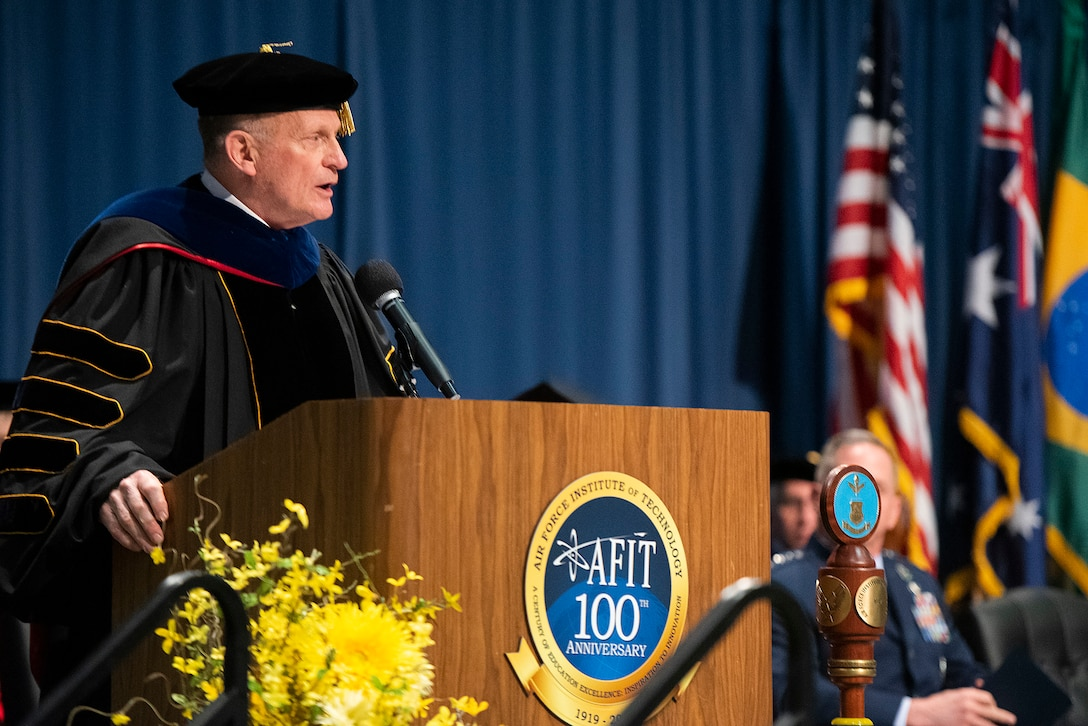 Dr. Todd I. Stewart, Air Force Institute of Technology director and chancellor, gives the opening remarks during the 2019 commencement ceremony March 21, 2019, at the National Museum of the U.S. Air Force, Wright-Patterson Air Force Base, Ohio.  Due to current concerns of COVID-19, a commencement ceremony for 2020 graduates was not held. AFIT's Graduate School of Engineering and Management awarded 236 master's degrees and seven doctorate degrees in science, technology, engineering and math fields. Two graduate student's received dual master's degrees (U.S. Air Force photo by R.J. Oriez)