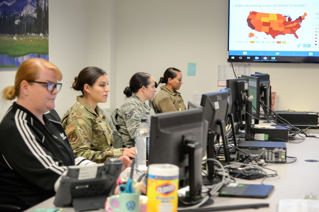 Members of 75th Medical Group Public Health man Hill Air Force Base, Utah clinic's control center March 31, 2020. At the epicenter for coronavirus information gathering and dissemination is the 75th Medical Group, and Public Health is on the frontlines.