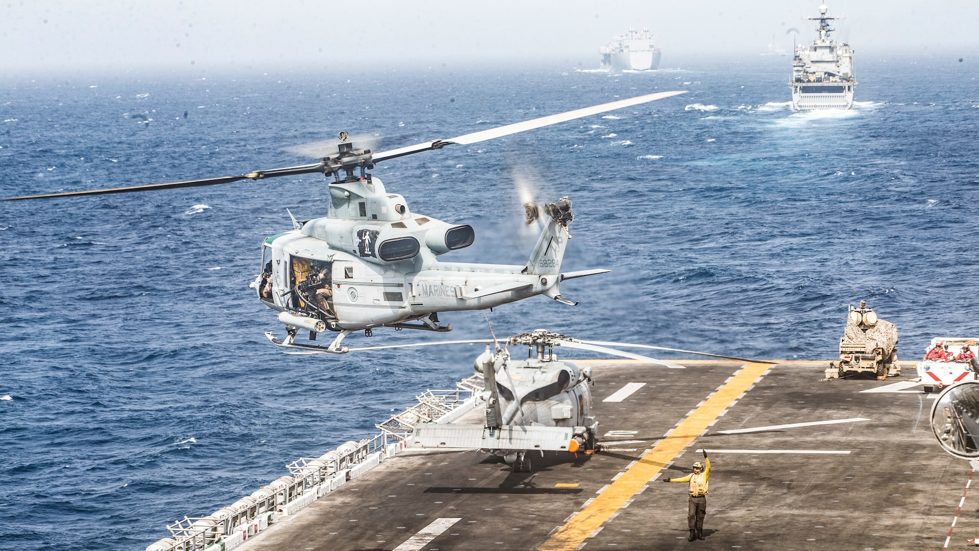 UH-1Y Venom helicopter takes off from flight deck of USS Boxer, Strait of Hormuz, July 18, 2019 (U.S. Marine Corps/Dalton Swanbeck)