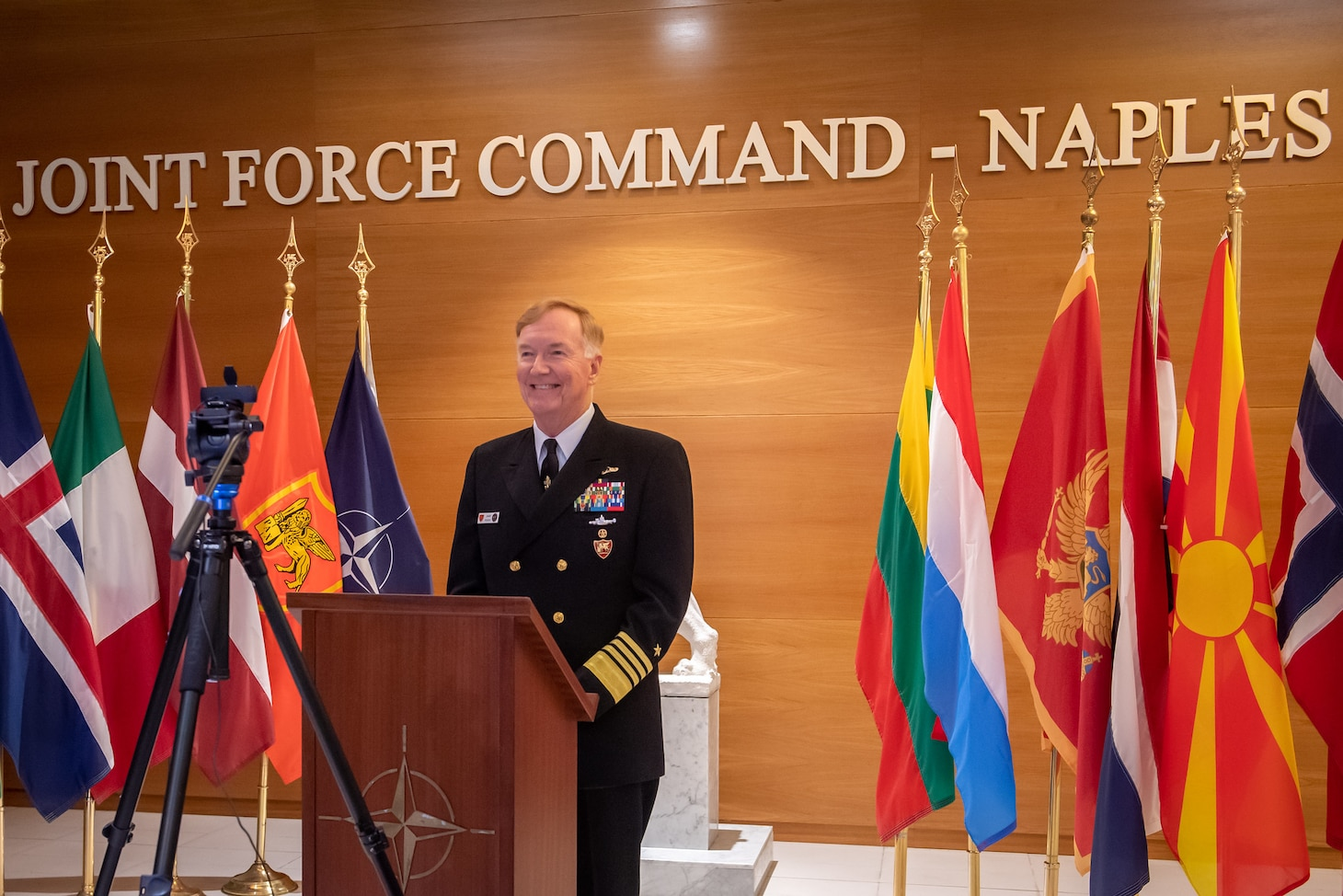 NAPLES, Italy (April 30, 2020) - Adm. James G. Foggo III, commander, U.S. Naval Forces Europe-Africa, and commander, Allied Joint Force Command Naples, speaks during the U.S. Naval Institute's 147th annual meeting, held virtually, April 30, 2020. CNE-CNA-C6F, headquartered in Naples, Italy, oversees joint and naval operations, often in concert with Allied, joint, and interagency partners, in order to advance U.S. national interests and security and stability in Europe and Africa. (Photo by Master Sergeant OR-8 Florian Fergen/Released)
