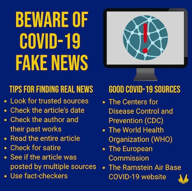 A graphic displaying good sources of COVID-19 news and tips for finding real news.