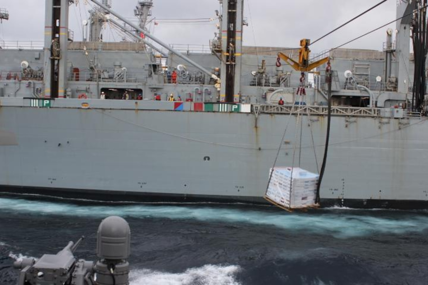 NORTH ATLANTIC (April 28, 2020) - The Arleigh Burke-class guided-missile destroyer USS Donald Cook (DDG 75) conducts a connected replenishment with USNS SUPPLY (T-AOE 6) to receive fuel and stores, April 28, 2020. CNE-CAN/C6F, headquartered in Naples, Italy, oversees joint and naval operations, often in concert with Allied, joint, and interagency partners, in order to advance U.S. national interests and security and stability in Europe and Africa. (U.S. Navy photo by Yeoman Third Class Anthony Nichols/Releaed)