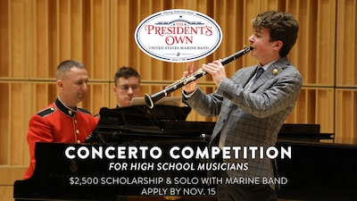 The U.S. Marine Band, in conjunction with the Marine Corps Heritage Foundation, is pleased to announce its annual Concerto Competition for High School Musicians. The winner will appear as a guest soloist with the Marine Band and receive a $2,500 scholarship from the Marine Corps Heritage Foundation. Apply by Nov. 15, 2020.