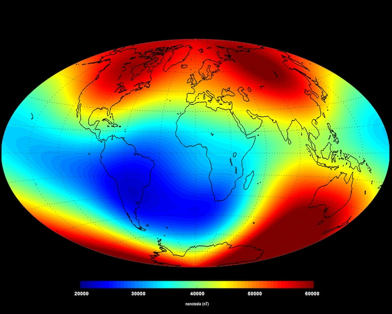 Major components of Earth's magnetic field include the stronger core field, shown here, and the crustal field. The core field is stronger but varies slowly over time. (Courtesy graphic)