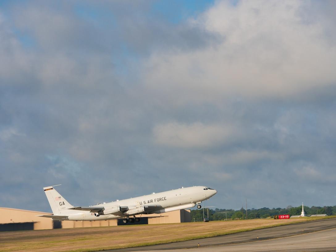 Photo shows a JSTARS aircraft taking off.