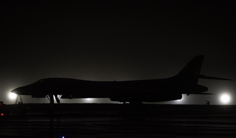 A 9th Expeditionary Bomb Squadron B-1B Lancer sits on the flightline at Andersen Air Force Base, Guam, May 1, 2020. Approximately 200 Airmen and four B-1s assigned to the 7th Bomb Wing at Dyess AFB, Texas, deployed to the Pacific in support of Bomber Task Force. The BTF is deployed to Andersen AFB to support Pacific Air Forces' training efforts with allies, partners and joint forces; and strategic deterrence missions to reinforce the rules-based order in the Indo-Pacific region. (U.S. Air Force photo by Senior Airman River Bruce)