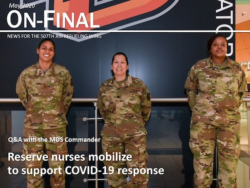 Maj. Lisa Morris, Lt. Col. Esther Mitchell and Maj. Jolina Griffin, nurses with the 507th Medical Squadron at Tinker Air Force Base, Oklahoma, prepare to deploy to help the fight against COVID-19 April 7, 2020. The deployment is part of a larger mobilization package of more than 120 doctors, nurses and respiratory technicians Air Force Reserve units across the nation provided within 48 hours in support of COVID-19 response to take care of Americans. (U.S. Air Force graphic by Senior Airman Mary Begy)