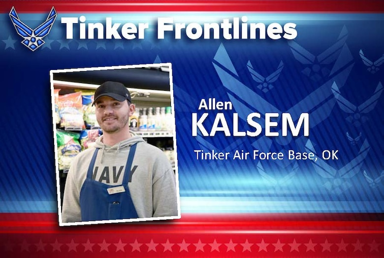 Allen Kalsem works in the produce section of the Tinker Commissary and has worked at the store for about six months. His duties include stocking shelves as quickly as possible after trucks come in and cleaning and disinfecting the produce area.