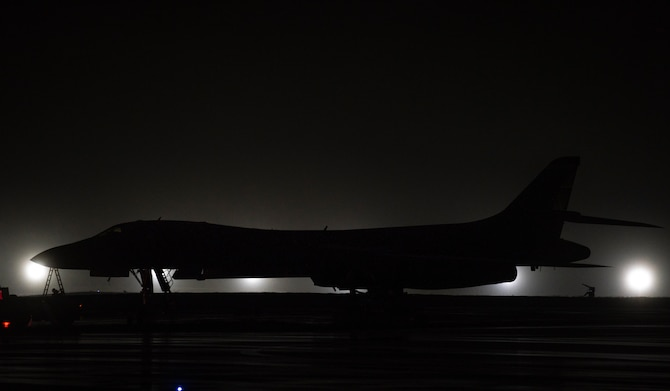 A 9th Expeditionary Bomb Squadron B-1B Lancer sits on the flightline at Anderson Air Force Base, Guam, May 1, 2020. Approximately 200 Airmen and four B-1s assigned to the 7th Bomb Wing at Dyess AFB, Texas, deployed to the Pacific in support of Bomber Task Force. The BTF is deployed to Andersen AFB to support Pacific Air Forces' training efforts with allies, partners and joint forces; and strategic deterrence missions to reinforce the rules-based order in the Indo-Pacific region. (U.S. Air Force photo by Senior Airman River Bruce)