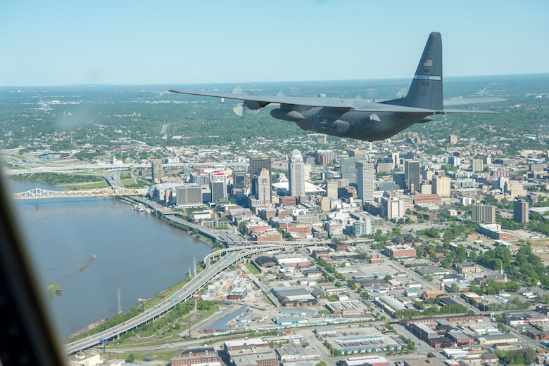 A Kentucky Air National Guard C-130 Hercules flies over the commonwealth of Kentucky as part of Operation American Resolve on Friday, May 1, 2020.  The 123rd Airlift Wing sent two C-130s for the aerial demonstration that is a nationwide salute to all those supporting COVID-19 response efforts. The flyover is intended to lift morale during a time of severe health and economic impacts that have resulted from COVID-19. (U.S. Air National Guard photo by Phil Speck)
