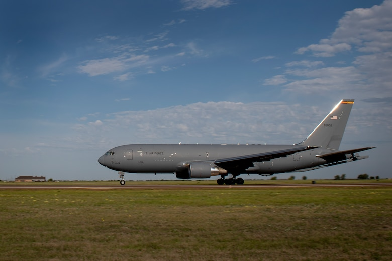 A U.S. Air Force KC-46 Pegasus assigned to the 56th Air Refueling Squadron, takes off from Altus Air Force Base, Oklahoma, in support of essential personnel fighting COVID-19, May 1, 2020.