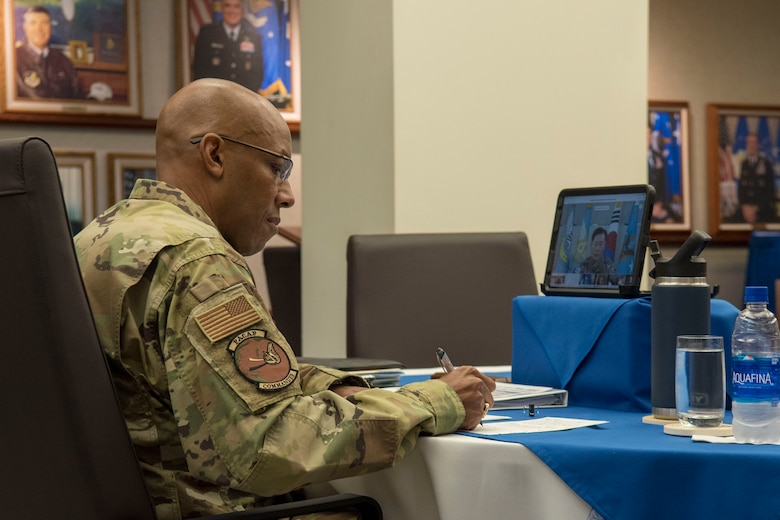 Gen. CQ Brown, Jr., Pacific Air Forces commander, participates in a virtual teleconference call with air chiefs at the Headquarters PACAF building on Joint Base Pearl Harbor-Hickam, Hawaii, April 29, 2020. The teleconference was intended to increase cooperation with allies and partners in support of a free and open Indo-Pacific. (U.S. Air Force photo by Staff Sgt. Mikaley Kline)