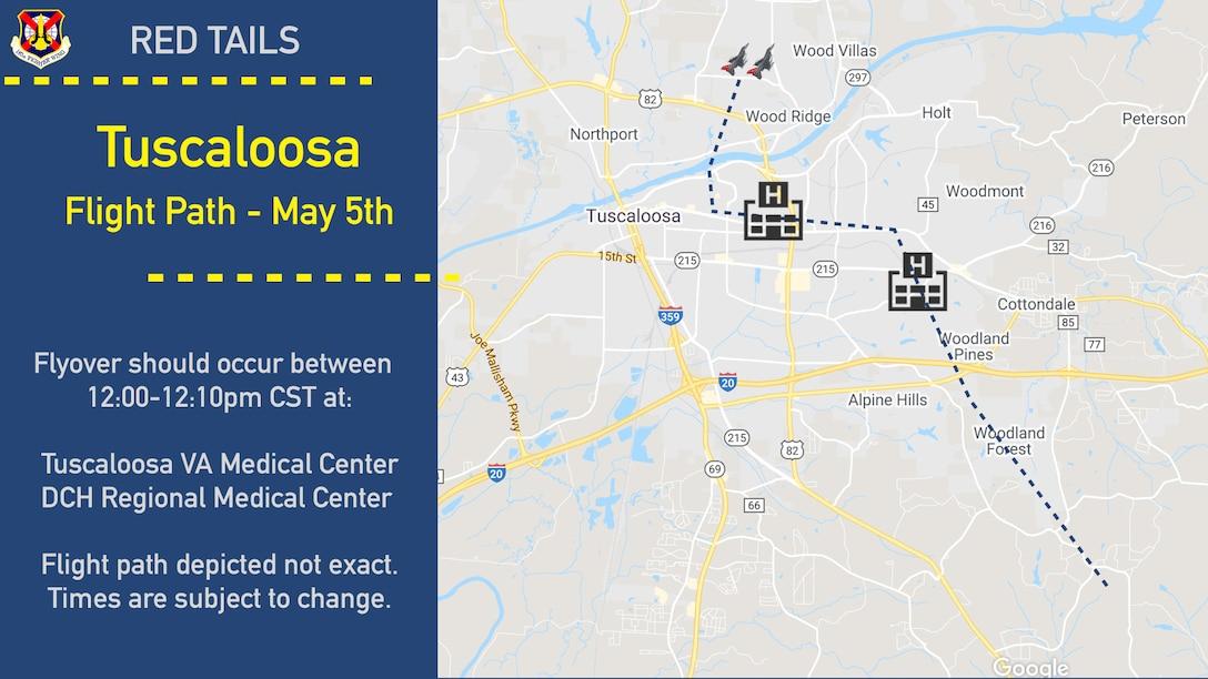 Tuscaloosa Flight path graphic