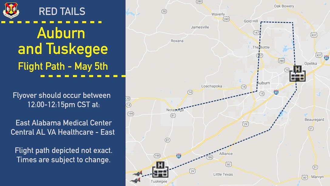 Auburn and Tuskegee Flight path graphic