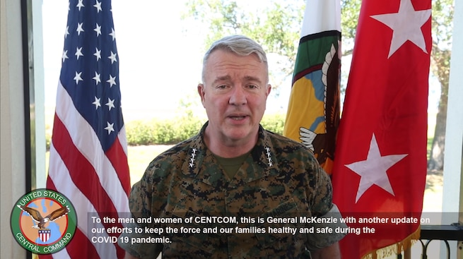 U.S. Marine Corps Gen. Kenneth F. McKenzie Jr., commander, U.S. Central Command, addresses force readiness during the COVID-19 pandemic.