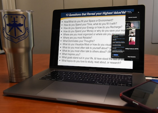 The 403rd Wing, at Keesler Air Force Base, Mississippi, hosted an online resiliency course May 2-3, 2020, during an optional telework opportunity for the May Unit Training Assembly. (U.S. Air Force photo by Lt. Col. Marnee A.C. Losurdo)