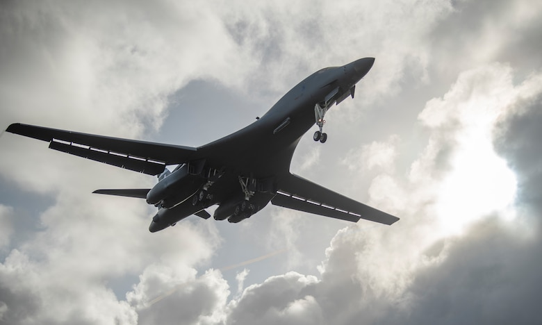 A 9th Expeditionary Bomb Squadron B-1B Lancer lands at Andersen Air Force Base, Guam, May 4, 2020, after completing a training mission in the East China Sea. The squadron is deployed to Guam for a Bomber Task Force deployment. BTFs support the National Defense Strategy objective of being strategically predictable and operationally unpredictable. (U.S. Air Force photo by Senior Airman River Bruce)