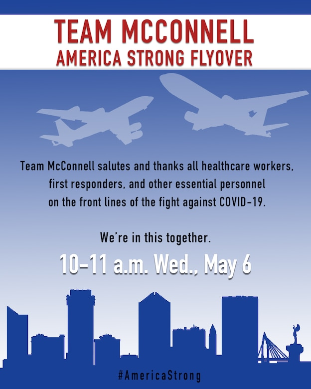 flyer for Team McConnell's America Strong flyover taking place Wednesday, 6May2020