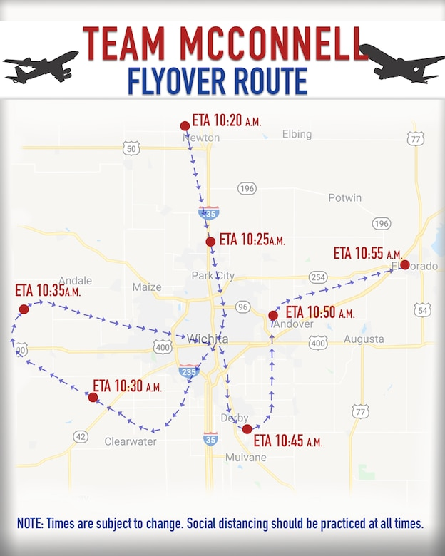 Team McConnell America Strong flyover route graphic taking place Wed, 6May2020