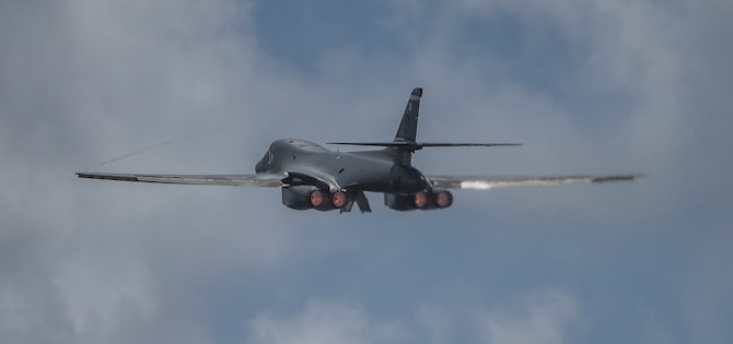 A 9th Expeditionary Bomb Squadron B-1B Lancer takes off at Andersen Air Force Base, Guam, May 4, 2020, to conduct a training mission in the East China Sea. The squadron with approximately 200 Airmen and four B-1Bs deployed to the Pacific for a Bomber Task Force deployment. (U.S. Air Force photo by Senior Airman River Bruce)