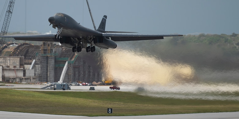 A 9th Expeditionary Bomb Squadron B-1B Lancer takes off at Andersen Air Force Base, Guam, May 4, 2020, to conduct a training mission in the East China Sea in support of Pacific Air Forces' training efforts and strategic deterrence missions to reinforce the rules-base international order in the Indo-Pacific region. (U.S. Air Force photo by Senior Airman River Bruce)