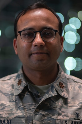 Dr. (Maj.) Sanjiv Baxi, 349th Medical Group doctor, poses for a photo  in New York City April 28, 2020. Baxi volunteered to help fight COVID19 when Air Force Reserve Command was looking for Citizen Airmen to support the DoD initiative with FEMA. Baxi also teaches epidemiology at University of California San Francisco. (U.S. Air Force courtesy photo)
