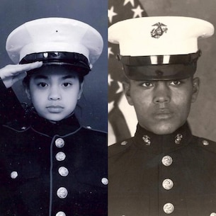Sgt. Monique Rodriguez (left), Marine Corps recruiter, Recruiting Substation Clearwater, Recruiting Station Tampa, poses for a photo in her father's dress blue coat. Ramiro Rodriguez (right) poses for a photo during Marine Corps Recruit Training.