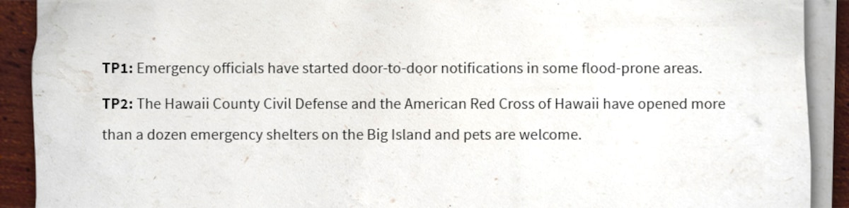 TP1: Emergency officials have started door-to-door notifications in some flood-prone areas.