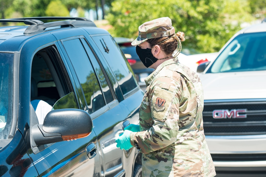 The 20th Medical Group pharmacy launched a curbside prescription pickup service outside the Base Exchange satellite pharmacy, April 27.