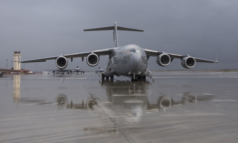 A C-17 Globemaster III parked on the ramp at Travis Air Force Base, Calif.