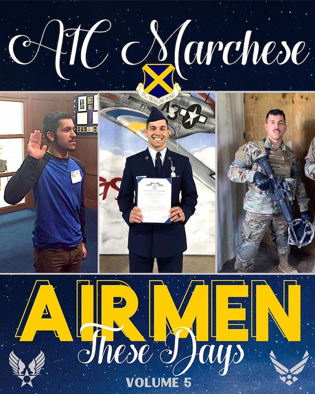 A graphic photo collage of images throughout Airman 1st Class Regino Marchese Air Force journey.