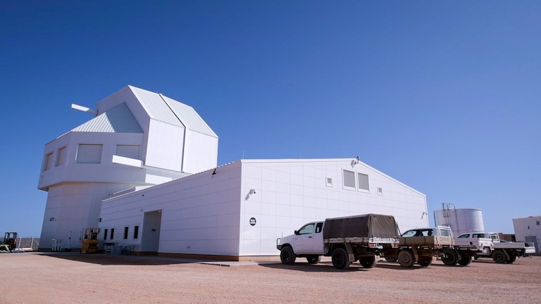 The Space Surveillance Telescope (SST), developed by the Defense Advanced Research Projects Agency (DARPA), is being reassembled at NCS Harold E. Holt, near Exmouth, Australia. The SST is a ground-based optical system that detects and tracks small objects in deep space, and provides an unprecedented wide-area search capability that will enhance space situational awareness of the Southern Celestial Hemisphere. (U.S. Navy photo by Mass Communication Specialist 2nd Class Jeanette Mullinax)