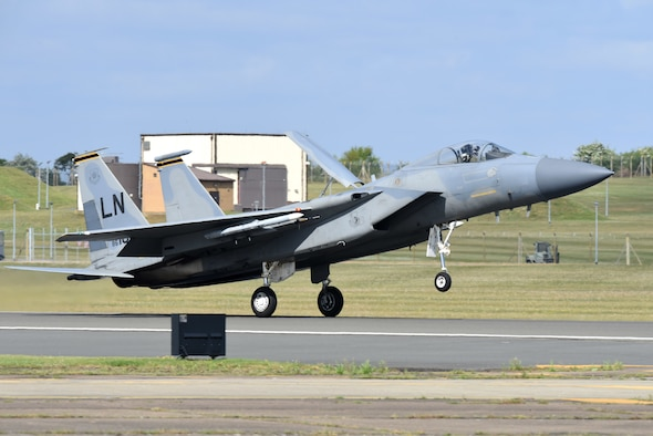An F-15C Eagle assigned to the 493rd Fighter Squadron lands at Royal Air Force Lakenheath, England, May 5, 2020. Despite the current COVID-19 crisis, it is critical for Liberty Wing aircrew to continue training to meet proficiency and readiness requirements to ensure the 48th Fighter Wing is able to provide worldwide responsive combat airpower and support. (U.S. Air Force photo by Airman 1st Class Rhonda Smith)