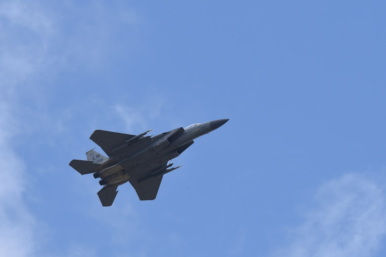 An F-15C Eagle assigned to the 493rd Fighter Squadron flies over Royal Air Force Lakenheath, England, May 5, 2020. The Liberty Wing continues flying operations during the current COVID-19 pandemic as the 48th Fighter Wing remains the center of gravity for combat airpower in Europe and must remain ready to support and defend the NATO alliance. (U.S. Air Force photo by Airman 1st Class Rhonda Smith)
