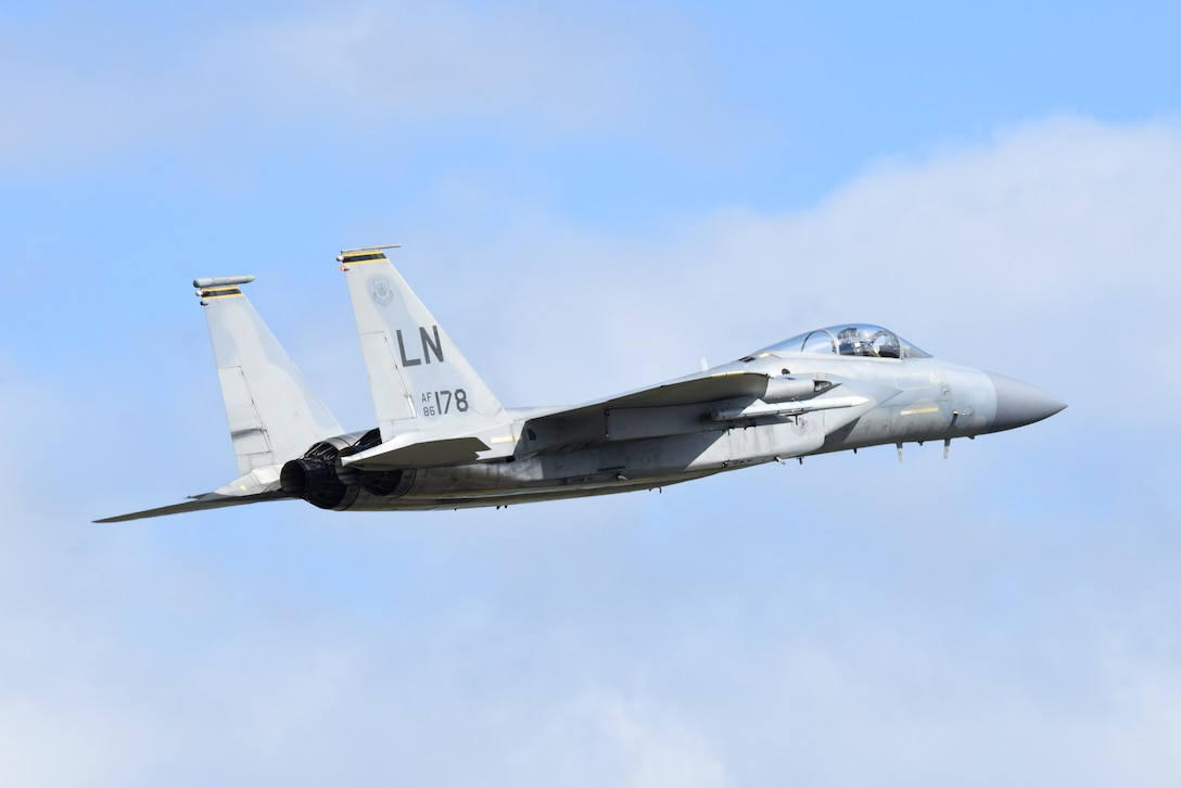 An F-15C Eagle assigned to the 493rd Fighter Squadron takes off from Royal Air Force Lakenheath, England, May 5, 2020. The 48th Fighter Wing continues flying operations to maintain trained and ready combat air forces in order to safeguard U.S. and allied national security interests, despite the current COVID-19 crisis. (U.S. Air Force photo by Airman 1st Class Rhonda Smith)