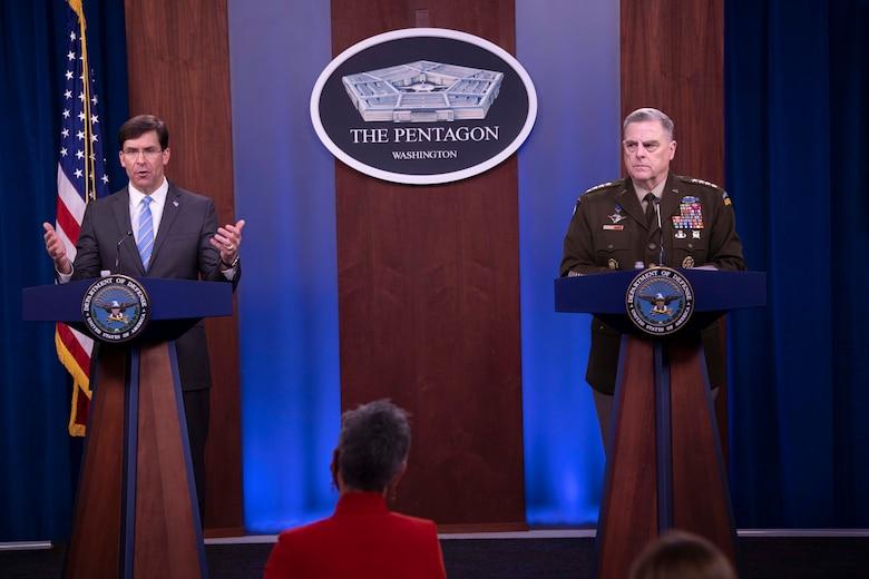 Esper and Milley speak at podiums.