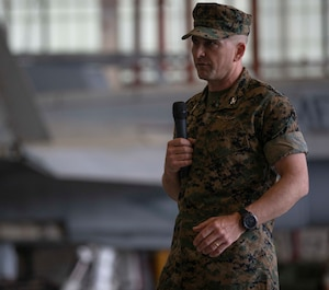Col. Matthew H. Phares, the commanding officer of Marine Aircraft Group 31, reflects on the many accomplishments that VMFA-251 had while active during a deactivation ceremony for VMFA-251 at Marine Corps Air Station Beaufort, S.C., April 23, 2020. The squadron was active for nearly 80 years, supported various combat operations, and will be stood back up as an F-35C squadron aboard MCAS Cherry Point, N.C. (U.S. Marine Corps photo by Lance Cpl. Aidan Parker)