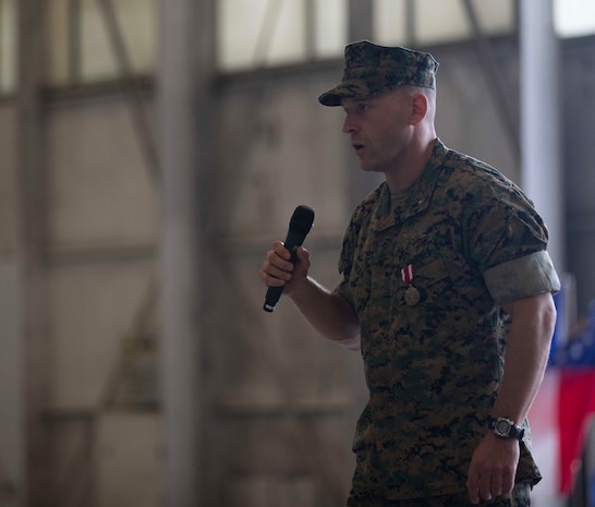 Lt. Col. Roy J. Nicka, the commanding officer of Marine Fighter Attack Squadron 251, gives thanks to Marines and families during the deactivation ceremony for VMFA-251 at Marine Corps Air Station Beaufort, S.C., April 23, 2020. The squadron was active for nearly 80 years, supported various combat operations, and will be stood back up as an F-35C squadron aboard MCAS Cherry Point, N.C. (U.S. Marine Corps photo by Lance Cpl. Aidan Parker)