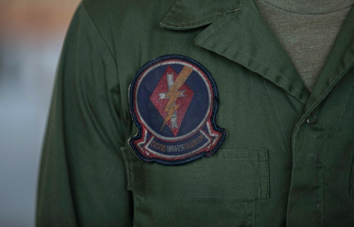 A Marine assigned to Marine Fighter Attack Squadron 251, Marine Corps Air Station Beaufort, S.C. poses for a photo, April 23, 2020. The squadron was active for nearly 80 years, supported various combat operations, and will be stood back up as an F-35C squadron at MCAS Cherry Point, N.C. (U.S. Marine Corps photo by Lance Cpl. Aidan Parker)