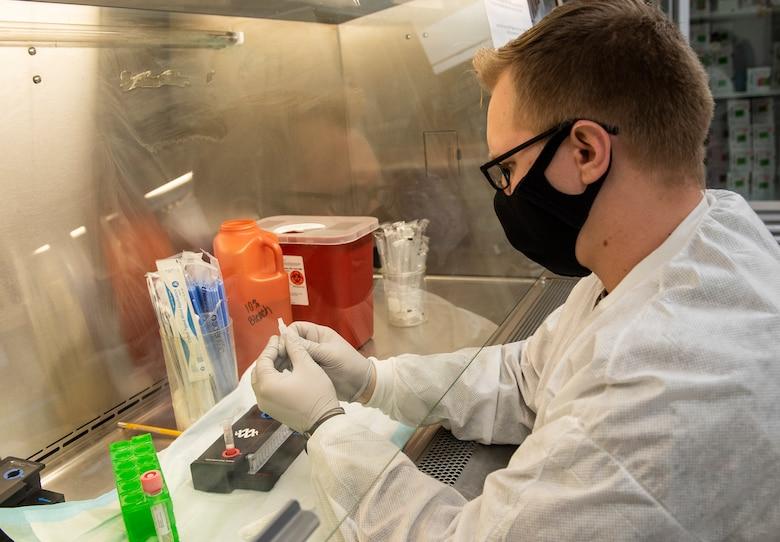 Lab testing COVID-19 samples.