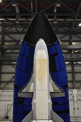 Encapsulated X-37B Orbital Test Vehicle for United States Space Force-7 mission (Courtesy of Boeing )