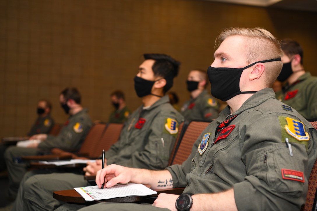 A 34th Bomb Squadron aviator attends a mission planning brief for a non-stop deployment from Ellsworth Air Force Base, S.D., to the U.S. European Command area of responsibility May 3, 2020. The U.S. maintains the capability, readiness, and will to defend interests globally, and will work closely with allies and partners to quickly and decisively respond to threats and malign activity. (U.S. Air Force photo by Senior Airman Nicolas Z. Erwin)