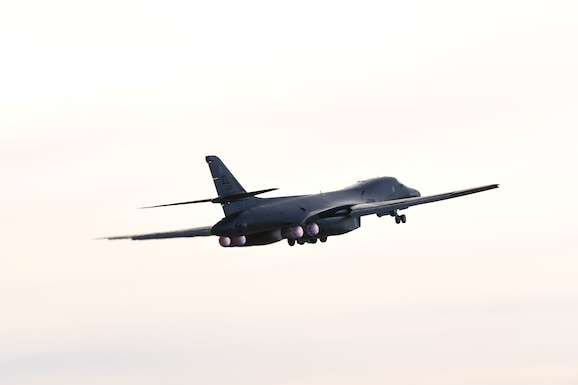 A B-1B Lancer launches for a non-stop deployment from Ellsworth Air Force Base, S.D., to the U.S. European Command area of responsibility May 4, 2020.