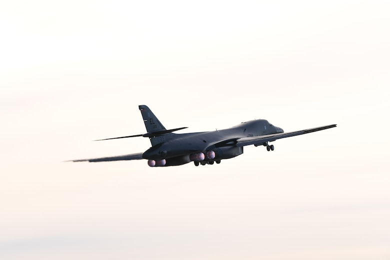 A B-1B Lancer launches for a non-stop deployment from Ellsworth Air Force Base, S.D., to the U.S. European Command area of responsibility May 4, 2020. U.S. Strategic Command first conducted these missions in 2014 as demonstrations of the United States' commitment to collective security.  (U.S. Air Force photo by Senior Airman Nicolas Z. Erwin)